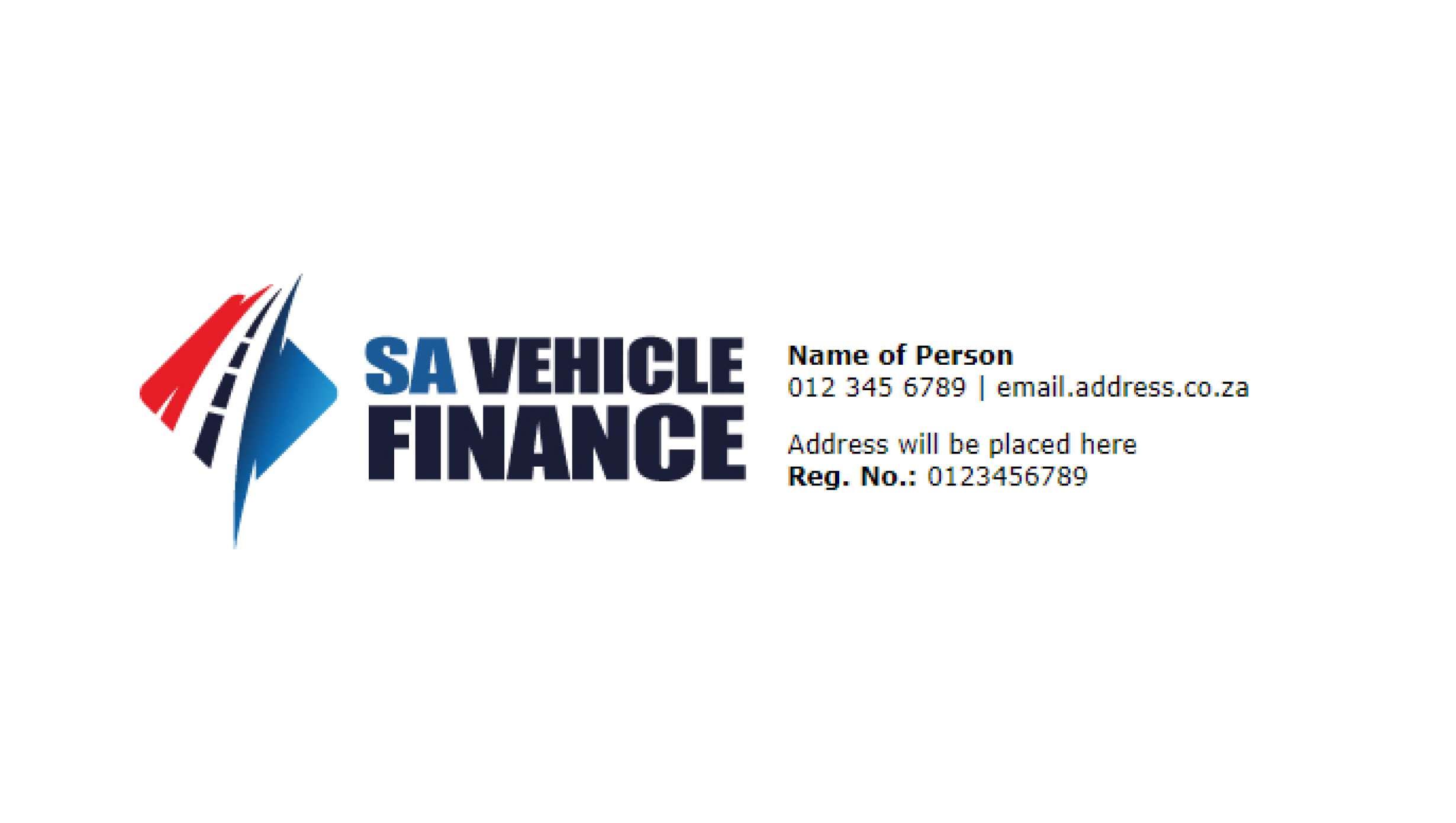 SA Vehicle Finance Email Signature Design